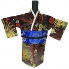 Kimono Wine Bottle Cover Japanese Woman Attire Blue Dark Red Longevity