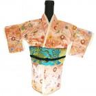 Kimono Wine Bottle Cover Japanese Woman Attire Blue Lite Pink Floral