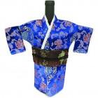 Kimono Wine Bottle Cover Japanese Woman Attire Dark Red Blue Vine