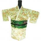 Kimono Wine Bottle Cover Japanese Woman Attire Green Lite Green Cherry Blossom