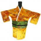 Kimono Wine Bottle Cover Japanese Woman Attire Green Orange Floral