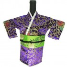 Kimono Wine Bottle Cover Japanese Woman Attire Green Violet Fortune Cloud