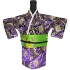 Kimono Wine Bottle Cover Japanese Woman Attire Green Violet Vine