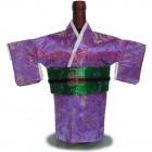 Kimono Wine Bottle Cover Japanese Woman Attire Green Violet O