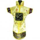 GuanFu Men Attire Wine Bottle Cover Black Yellow Lily