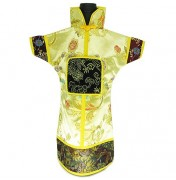 GuanFu Men Attire Wine Bottle Cover Black Yellow Lily