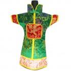 GuanFu Men Attire Wine Bottle Cover Red Green