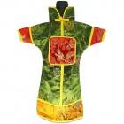 GuanFu Men Attire Wine Bottle Cover Red Dark Green