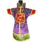 GuanFu Men Attire Wine Bottle Cover Red Lavender Fortune