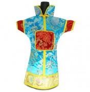 GuanFu Men Attire Wine Bottle Cover Red Turquoise Longivity