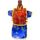 Men Kaisan Wine Bottle Cover Chinese Men Attire Red Floral Blue Vine