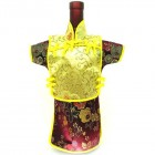 Men Kaisan Wine Bottle Cover Chinese Men Attire Yellow Fortune Cloud Burgundy Floral