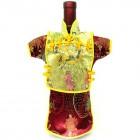 Men Kaisan Wine Bottle Cover Chinese Men Attire Yellow Floral Burgundy Longevity