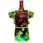 Men Kaisan Wine Bottle Cover Chinese Men Attire Burgundy Floral Green Floral