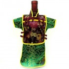 Men Kaisan Wine Bottle Cover Chinese Men Attire Burgundy Floral Green Fortune