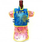 Men Kaisan Wine Bottle Cover Chinese Men Attire Turquoise Longevity Hot-Pink Floral