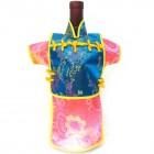 Men Kaisan Wine Bottle Cover Chinese Men Attire Turquoise Floral Hot-Pink Longevity