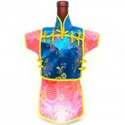 Men Kaisan Wine Bottle Cover Chinese Men Attire Turquoise Vine Hot-Pink Longevity