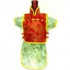 Men Kaisan Wine Bottle Cover Chinese Men Attire Red Butterfly Light Green Floral