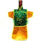Men Kaisan Wine Bottle Cover Chinese Men Attire Green Floral Orange Fortune Cloud