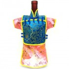 Men Kaisan Wine Bottle Cover Chinese Men Attire Turquoise Fortune Pink Floral
