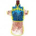 Men Kaisan Wine Bottle Cover Chinese Men Attire Turquoise Phoenix Pink Phoenix