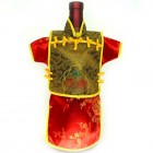 Men Kaisan Wine Bottle Cover Chinese Men Attire Golden Fortune Cloud Red Plum
