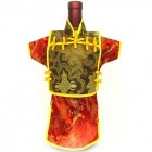 Men Kaisan Wine Bottle Cover Chinese Men Attire Golden Phoenix Red Fortune Cloud
