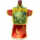 Men Kaisan Wine Bottle Cover Chinese Men Attire Green Longevity Red Floral