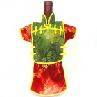 Men Kaisan Wine Bottle Cover Chinese Men Attire Green Longevity Red Plum
