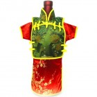 Men Kaisan Wine Bottle Cover Chinese Men Attire Green Peony Red Plum