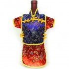 Men Kaisan Wine Bottle Cover Chinese Men Attire Lavender Floral Red Floral