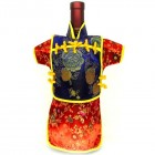 Men Kaisan Wine Bottle Cover Chinese Men Attire Violet Peony Red Floral