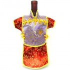 Men Kaisan Wine Bottle Cover Chinese Men Attire Lite Violet Fortune Cloud Red Floral