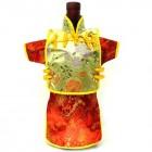 Men Kaisan Wine Bottle Cover Chinese Men Attire Yellow Peony Red Phoenix