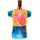 Men Kaisan Wine Bottle Cover Chinese Men Attire Hot-pink Longevity Turquoise Floral
