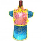 Men Kaisan Wine Bottle Cover Chinese Men Attire Pink Floral Turquoise Fortune
