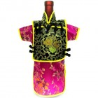 Men Kaisan Wine Bottle Cover Chinese Men Attire Black Fortune Cloud Violet Floral