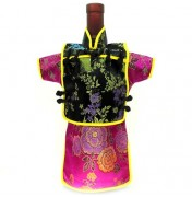 Men Kaisan Wine Bottle Cover Chinese Men Attire Black Floral Violet Peony