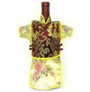 Men Kaisan Wine Bottle Cover Chinese Men Attire Burgundy Fortune Cloud Yellow Floral