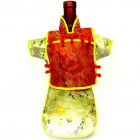 Men Kaisan Wine Bottle Cover Chinese Men Attire Red Butterfly Yellow Floral