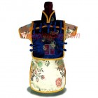 Men Kaisan Wine Bottle Cover Chinese Men Attire Blue Floral Yellow Floral