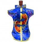 Kaisan-Moon Wine Bottle Cover Chinese Woman Attire Red Blue Floral