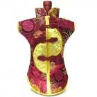 Kaisan-Moon Wine Bottle Cover Chinese Woman Attire Golden Burgundy Longevity