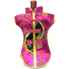 Kaisan-Moon Wine Bottle Cover Chinese Woman Attire Black Pink Floral