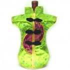 Kaisan-Moon Wine Bottle Cover Chinese Woman Attire Burgundy Light Green Floral
