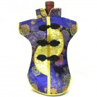 Kaisan-Moon Wine Bottle Cover Chinese Woman Attire Golden Lavender Peony