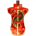 Kaisan-Moon Wine Bottle Cover Chinese Woman Attire Black Red Plum