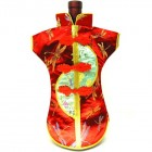 Kaisan-Moon Wine Bottle Cover Chinese Woman Attire Light Green Red Dragonfly