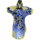 Qipao Wine Bottle Cover Chinese Woman Attire Blue Fortune Cloud
